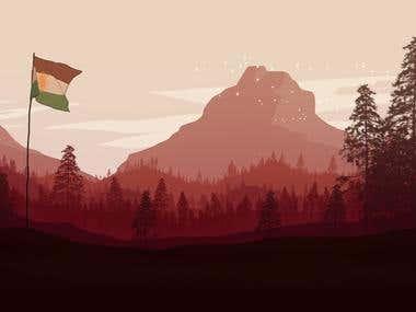 Illustration nature with Kurdish flag