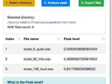 macOS App: Peak Sorter