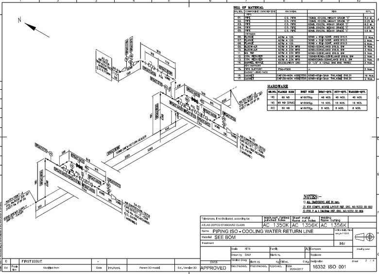 piping isometric drawing with material take off