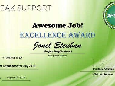 Excellence Award for August 2016