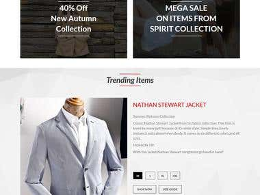 One page shopping web site