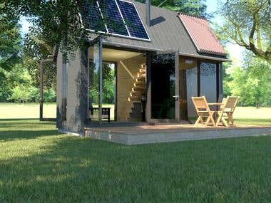 Small solar cottage design in Sketchup and Vray 3.4