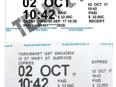 Re-Create a parking receipt from JPG file to Microsoft Word.