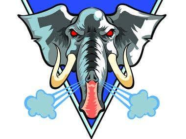 """Furious Elephants"" Rugby team mascot logo"