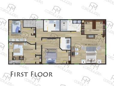 2D colour FloorPlan