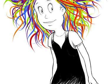 Rainbow-haired Cartoon Girl