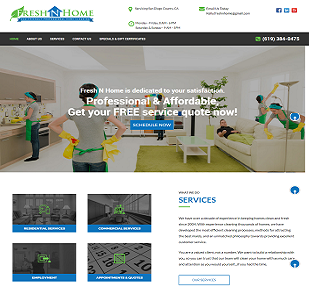 Commercial Cleaning company website(https://www.freshnhome.)
