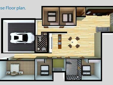 this is house floor plan by using Google sketchup 2017.