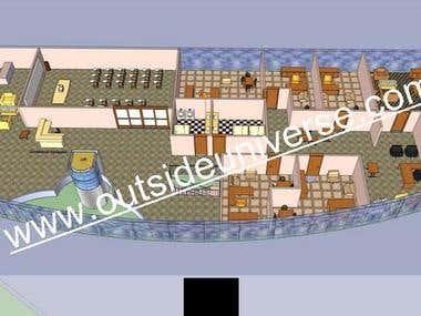 Led lamp production plant-office part architectural design