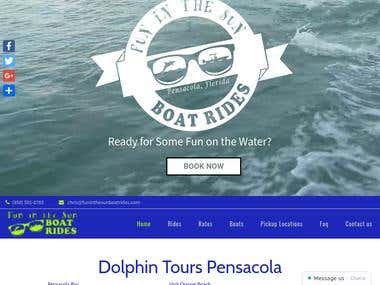 Website for Dolphin tours company