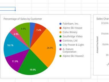 Sales report converted into graph and chart
