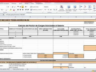 calculo de costo mano de obra / labor cost calculation