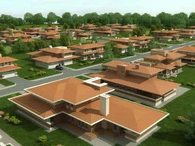 3D visualization of modern village