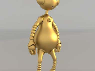 Golden Robot - 3D Model