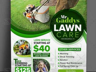 Single Page Flyer Design for Mr Gaddys Lawn Care