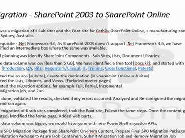 Migration - SharePoint 2003 to SharePoint Online