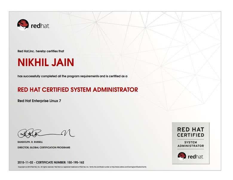 Red Hat Certified System Administrator   Freelancer