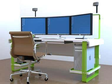 this project is 3d design and rendering of computer desk.