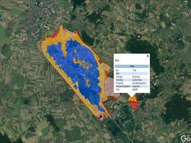 Google Earth data presentation of water resources in Poland