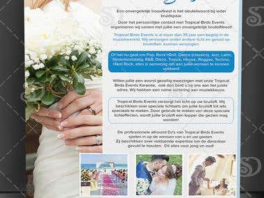 Single Page Flyer design for Tropical Birds Wedding