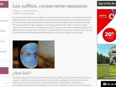 Blog corporativo para tienda de vinos
