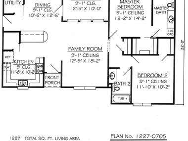 2d drawing for a floor plan