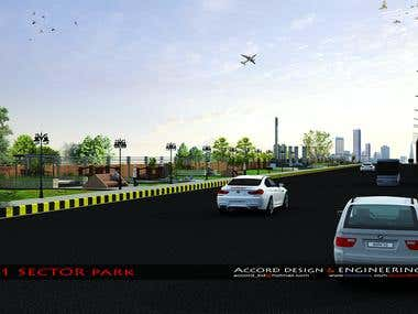 PARK DESIGN BESIDE HIGHWAY