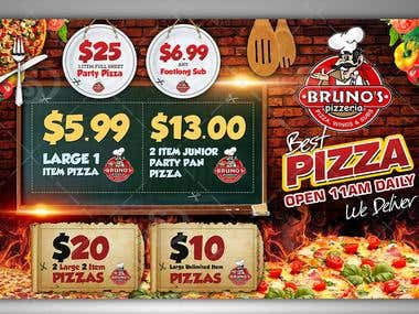 Postcard Design for Bruno's Pizzeria