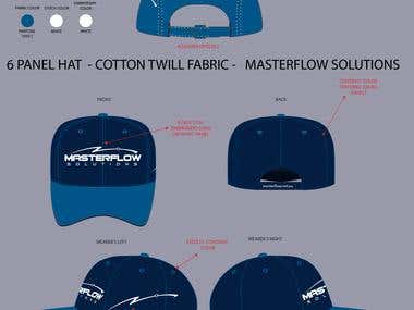 5 panel hat - 6 panel hat technical sketching