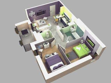 High quality Rendering for floor plan
