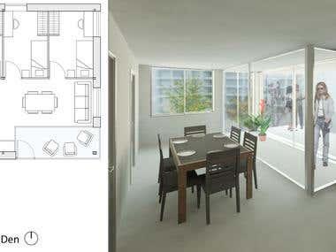 Room floor plan with rendering