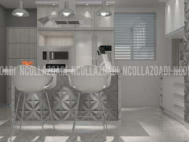 Interior Design and 3D Modeling Kitchen