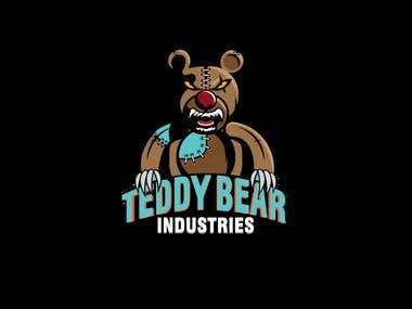 evil teddy bear illustration logo design