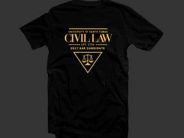 T-shirt design for a Law school