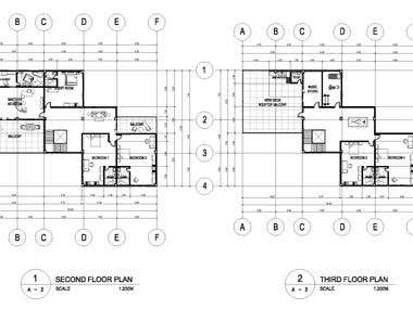 3-storey residential with roof deck floor plans