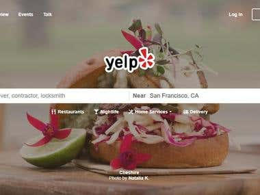 Yelp Researching for Leads.