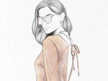Fashion illustration (pencil + watercolor)
