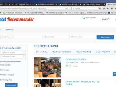 Hotel Recommender System