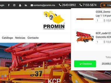 Tienda Online Maquinarias Pesadas Promin.mx