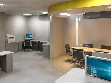 diseño interior de oficina de mercadeo en centro comercial