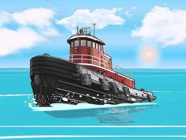 Animated Tug Boat GIF