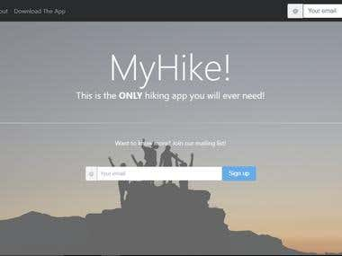 Landing Page for myHike app