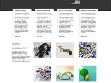 Home page in portfolio blog