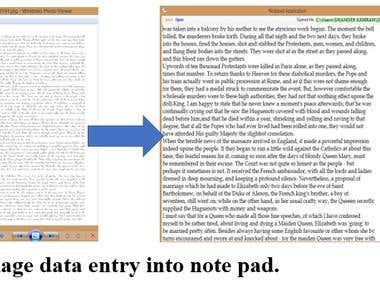 Data entry from image to notepad