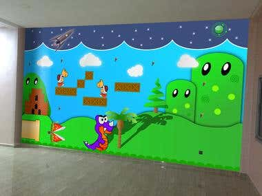 Illustrated wall for child garden