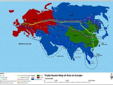 Trade Map of Asia and Europe.