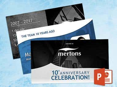 Mertons' 10th Anniversary PowerPoint presentation