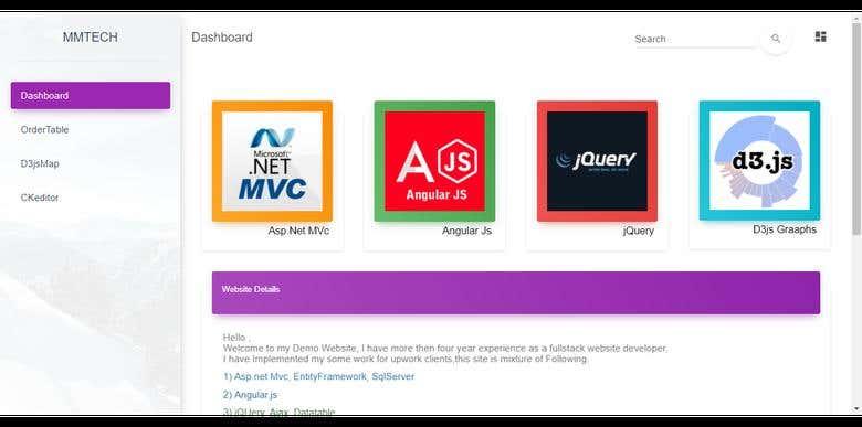 Website for demo Angular js ,Asp net mvc,Jquery, D3 js,Ckedi