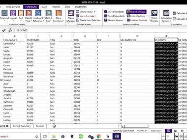 URL links - completed spreadsheet