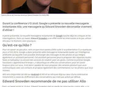 Google Allo : Edward Snowden déconseille son utilisation